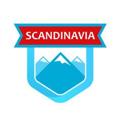 scandinavian rocks on emblem vector image vector image
