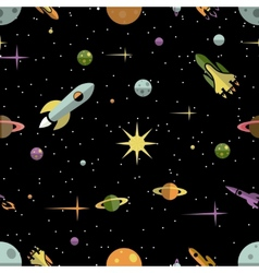 Seamless pattern with planets rockets and stars vector image