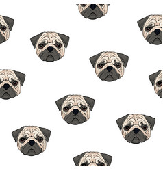 Seamless pattern with pug heads on white vector