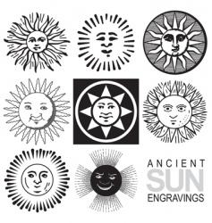 sun icons retro engraving vector image