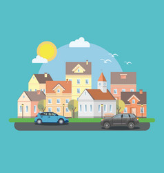 The landscape of the historic city with cars vector