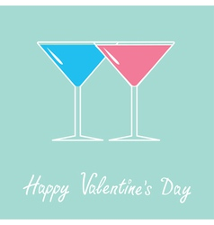 Two glasses of martini Happy Valentines Day vector image