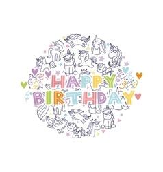unicorn birthday card vector image