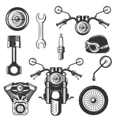 vintage motorcycle icons symbols set vector image