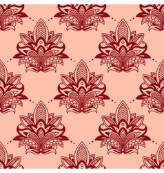 Vintage red flowers in persian seamless pattern vector image vector image