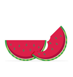 Water melon bitten piece cartoon vector