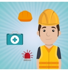 Worker kit aid helmet icon vector