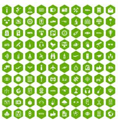 100 wireless technology icons hexagon green vector