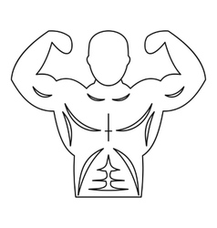 Strong athletic man icon outline style vector