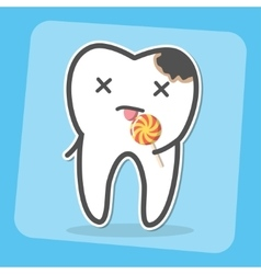 Bad tooth with caries cavity and lollipop vector