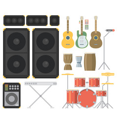 Musical instruments flat vector