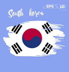 South korea flag brush strokes painted vector