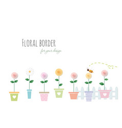 Floral border with roses and chamomile in vector