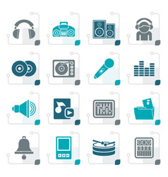 Stylized music and sound icons vector