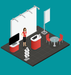 Exhibition show stand for presentation isometric vector