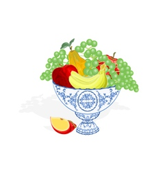 Faience bowl blue color with fruit vector