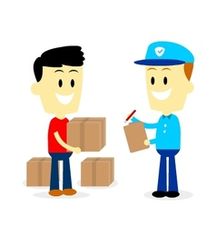 Postman delivering parcels to a man vector