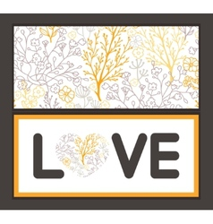 Magical floral love text frame pattern vector