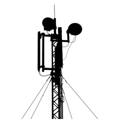 Silhouette mast antenna mobile communications vector