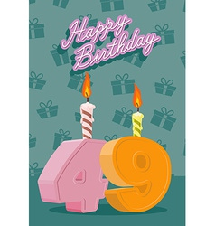 Birthday candle number 49 with flame vector