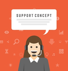 Business woman support service concept and flat vector
