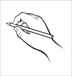 Hand holding pencil vector