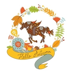 Hello autumn card with floral unicorn horse and vector
