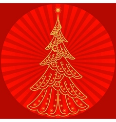 Christmas firtree on red vector