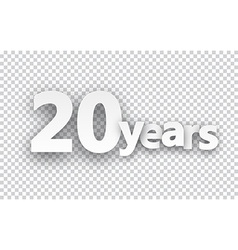 Twenty years paper sign vector