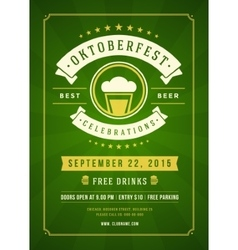 Oktoberfest beer festival typographic poster vector image