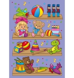Of different toys on shelves vector