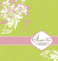 Green with white floral elements vector