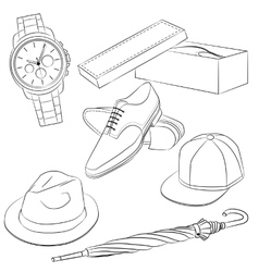 Set of fashion accessories and mens shoes vector