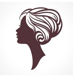 Woman face silhouette Female head vector image