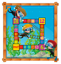 boardgame template with kids scuba diving vector image