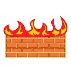 Brick wall on fire icon cartoon style vector image