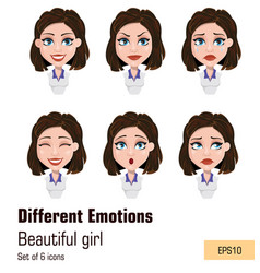 business woman with different face expressions vector image