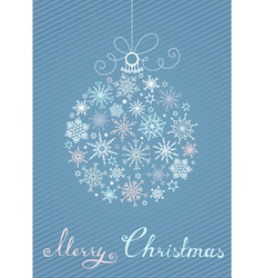 Christmas ball of snowflakes on blue striped vector image vector image