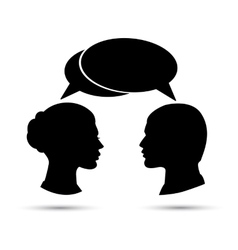 Conversation between man and woman Black vector image