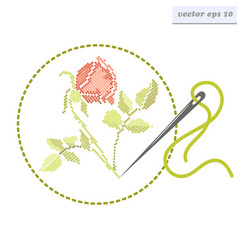 cross stitch rose vector image