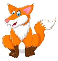 cute Cartoon Fox sitting vector image vector image