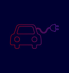 Eco electric car sign line icon with vector