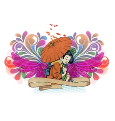 geisha with wings vector image vector image