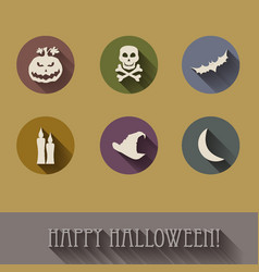 halloween flat icons set vector image vector image