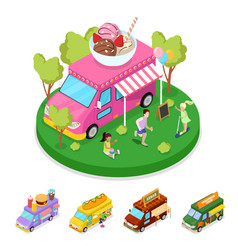 Isometric street food ice cream truck with people vector