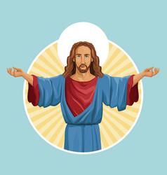 Jesus christ religious image label vector