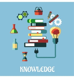 Knowledge and web education flat design vector image