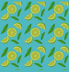 lemon slices and leaves pattern in blue background vector image