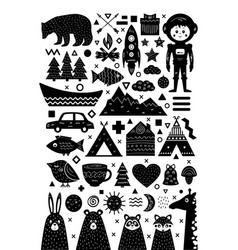 Monochrome set of elements in scandinavian style vector