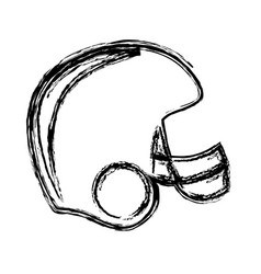 Monochrome sketch of american football helmet vector